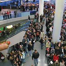 Crowds in Rock Hall lobby